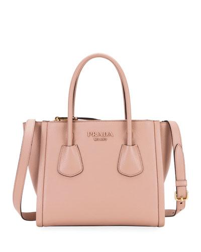 Vitello Leather Multi-Zip Medium Tote Bag