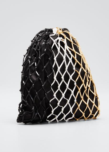 Colorblock Net Pouch Bag