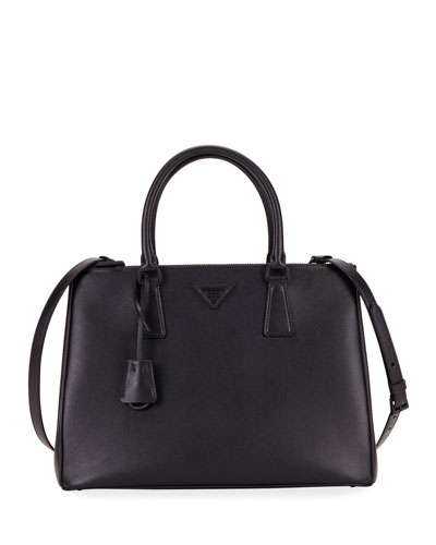 Saffiano Dual-Zip Satchel Tote Bag