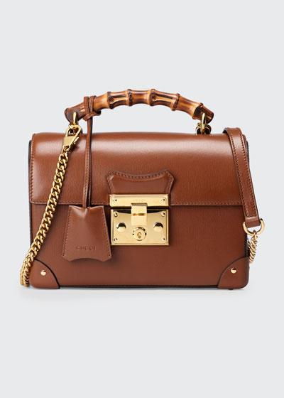 Padlock Small GG Flora Bamboo Top-Handle Shoulder Bag