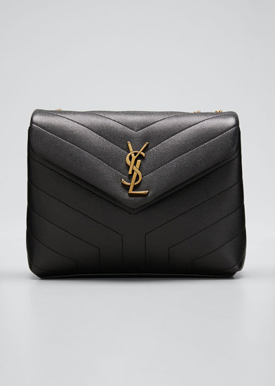 Loulou Monogram YSL Small V-Flap Grain de Poudre Shoulder Bag
