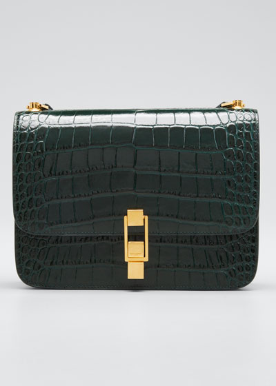 Carre Croc-Embossed Crossbody Bag
