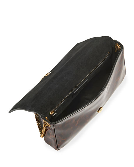 Kate Baguette YSL Monogram Tortoise Patent Calfskin Shoulder Bag w/ Tassel