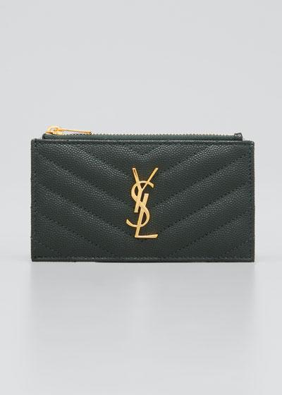 Zip Fragments YSL Monogram  Pouch Card Case Wallet