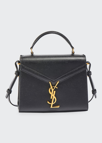 Cassandra Small YSL Monogram Grain Leather Top-Handle Bag