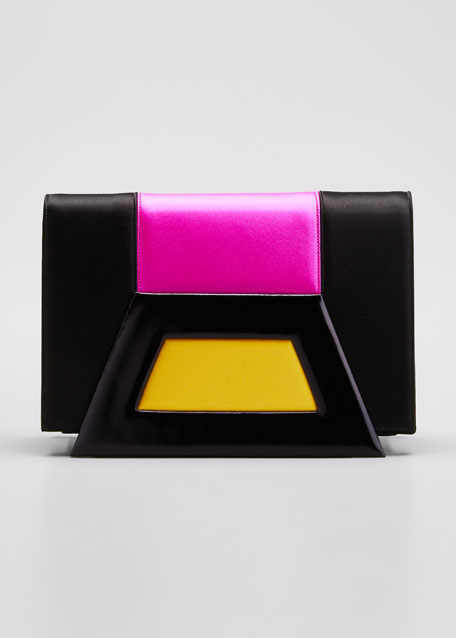 Image 1 of 1: Paola Colorblock Leather & Satin Clutch Bag