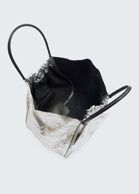 Extra Large Ruched Metallic Tote Bag