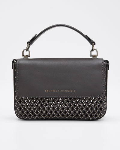 Laser-Cut Leather Crossbody Bag