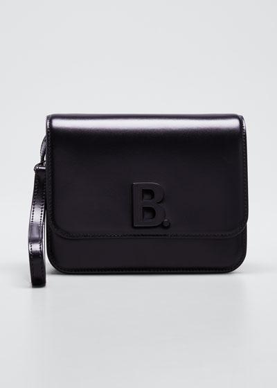 B Bag Small Shiny Box Calf Crossbody Bag