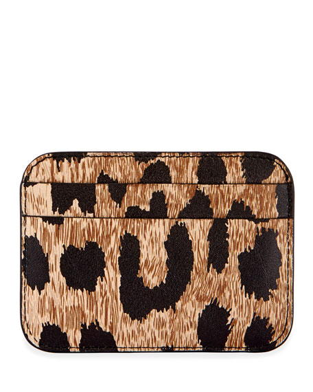 Leopard-Print Cash Card Holder
