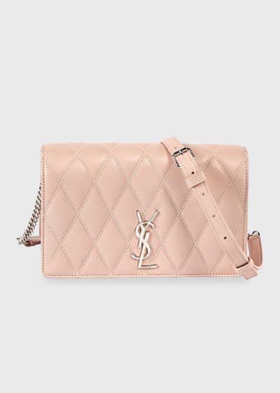 Angie YSL Monogram Quilted Lamb Crossbody Bag - Silver Hardware