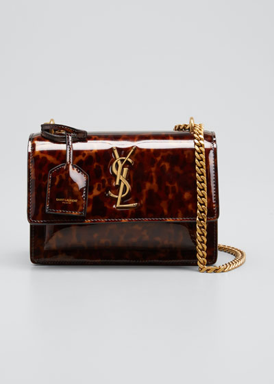 Sunset Small YSL Monogram Tortoiseshell Patent Leather Shoulder Bag
