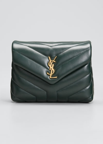 Loulou Monogram YSL Mini V-Flap Calf  Wallet on Chain