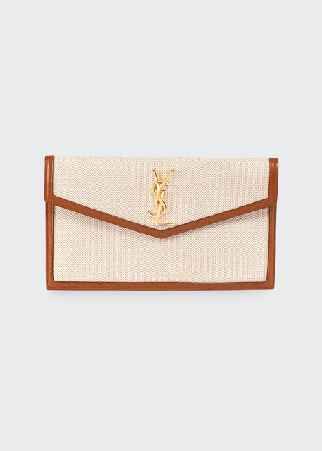 Uptown Medium Ysl Monogram Canvas Clutch Bag by Saint Laurent