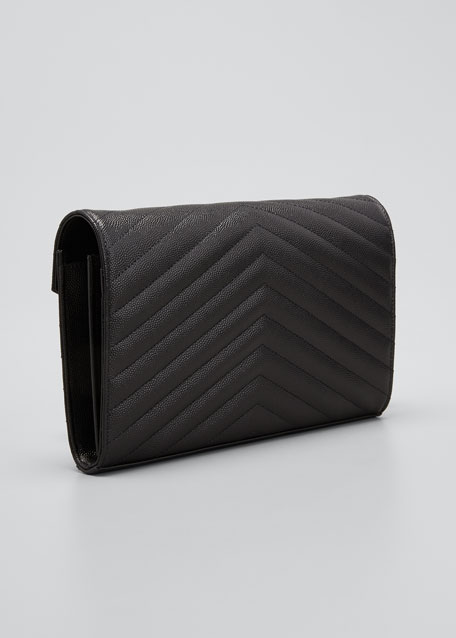 Monogramme Tricolor YSL Leather Chain Wallet
