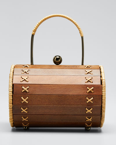 Alix Wood Cylinder Top Handle Bag
