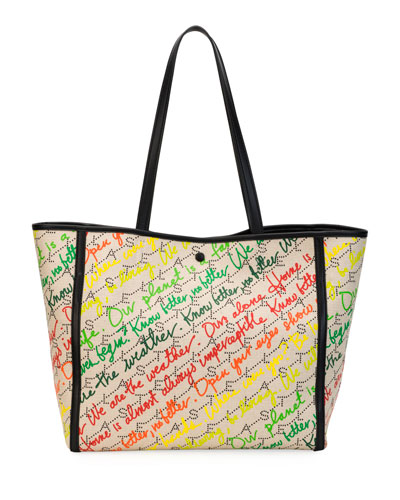 Small Eco Monogram Slogans Tote Bag