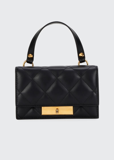 Skull Lock Quilted Leather Satchel Bag