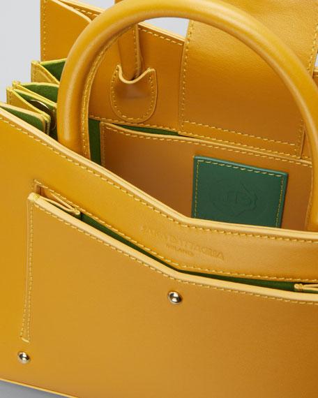 Plisse Toy Leather Satchel Tote Bag