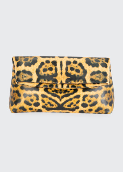 Soft Fold-over Leopard Clutch Bag