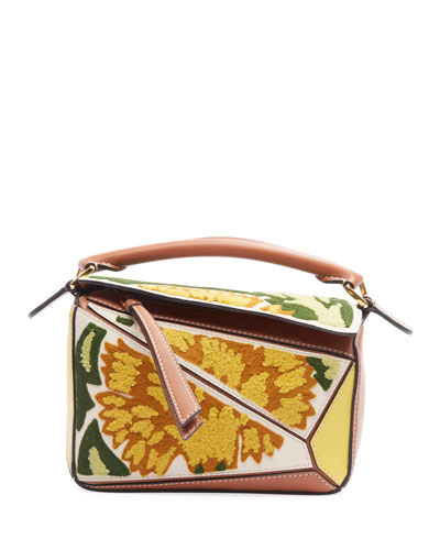 Puzzle Floral Mini Satchel Bag