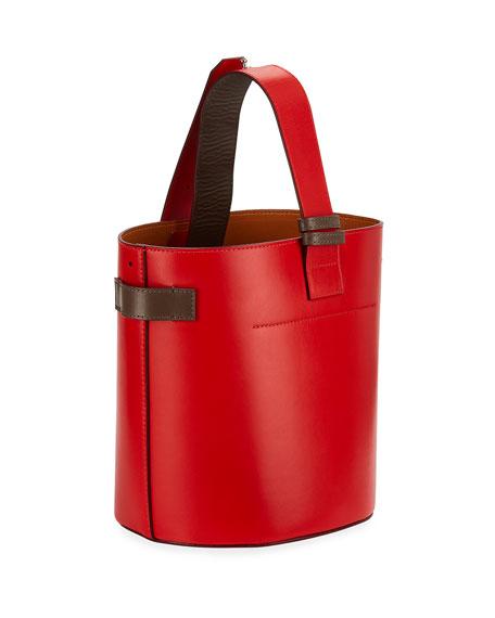 Leather Open Bucket Bag