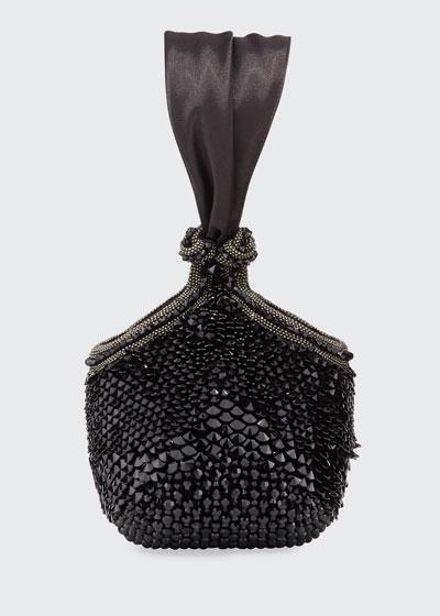 Bella Jeweled Satin Clutch Bag