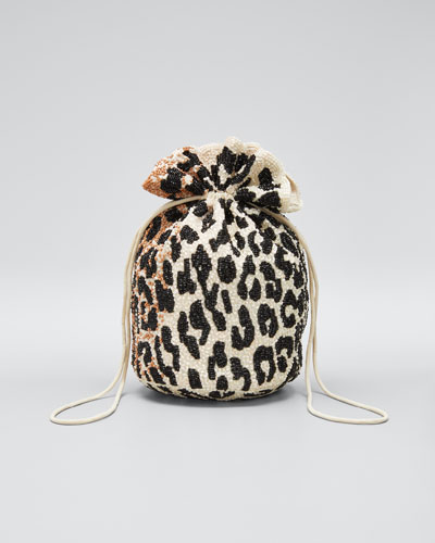 Hand-Beaded Leopard Bucket Bag