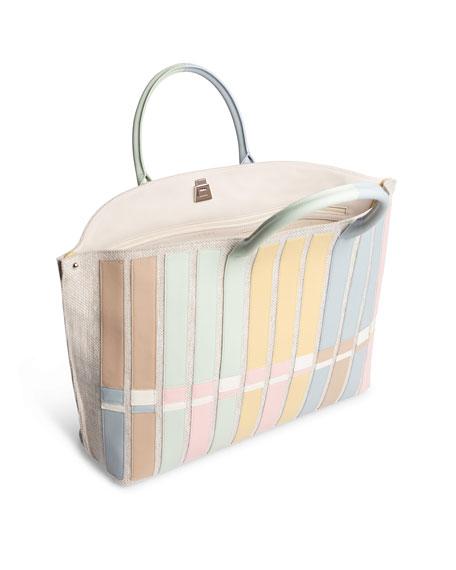 Ai Medium Variazoni Canvas & Leather Tote Bag