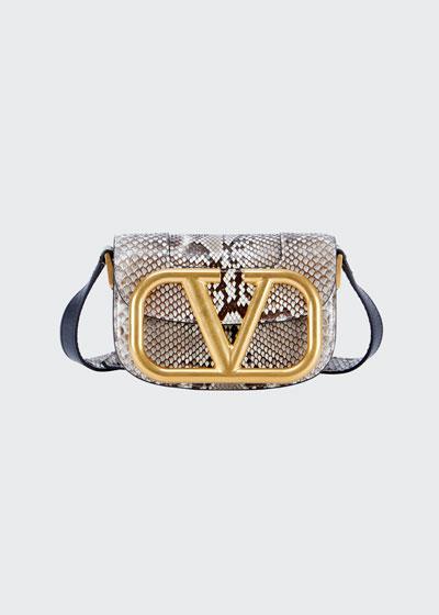 Supervee Small Snake-Print Shoulder Bag