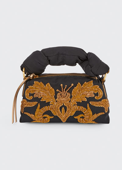 Embroidered Top Handle Bag