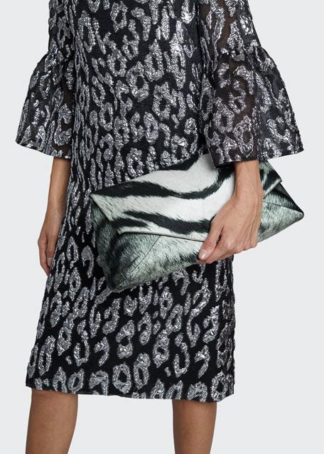 Zebra-Printed Rayon Envelope Clutch Bag