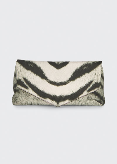 Zebra-Printed Rayon Envelope Clutch Bag