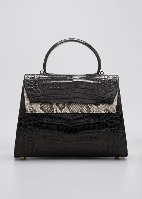 Small Double-Pocket Python & Crocodile Top-Handle Bag