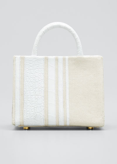 Emma Mini Stripe Crocodile Tote Bag