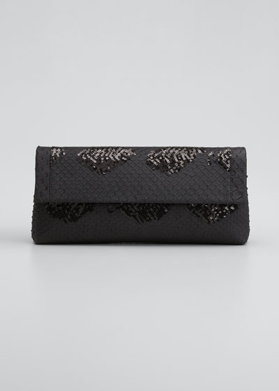 Gotham Metallic Python Flap Clutch Bag