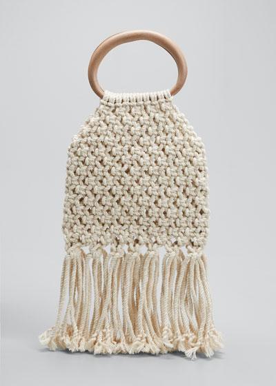Maeve Crochet Fringe Top Handle Bag