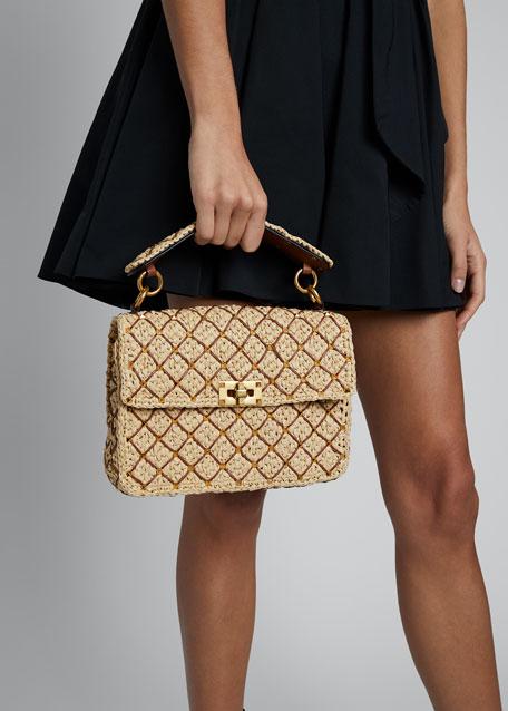 Rockstud Spike Medium Raffia Shoulder Bag