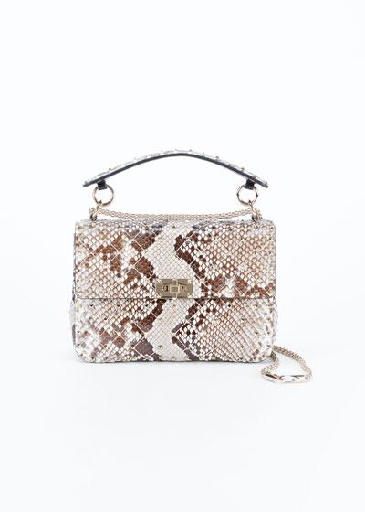 Rockstud Spike Medium Python Shoulder Bag
