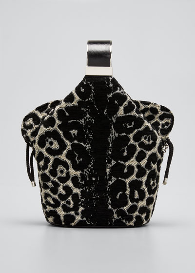 Kit Safari Leopard-Print Chenille Bucket Bag