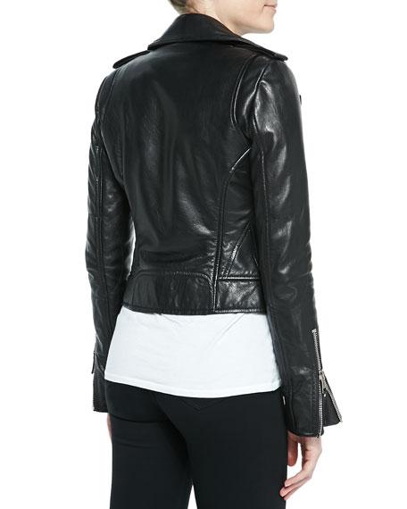Notched-Collar Biker Jacket, Black