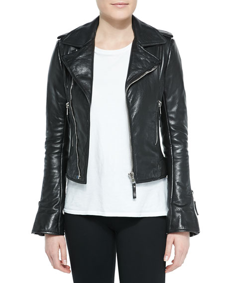 Notched-Collar Biker Jacket, Black