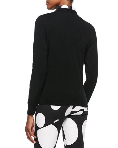Cashmere Pompom-Embellished Sweater, Black