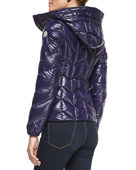 Badette Oversize-Collar Hooded Puffer Coat, Plum