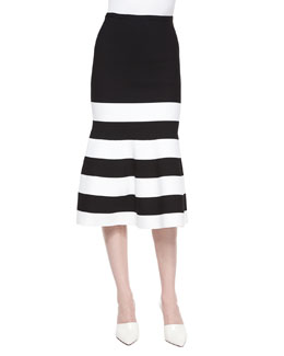 Striped Crepe Fluted Skirt