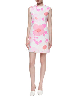 Flower-Print Mini Shift Dress