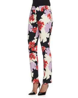 Floral-Print Skinny Flared Pants