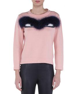 Fur-Trimmed Bug Eyes Sweater