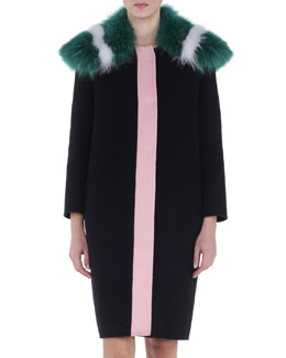 Double-Faced Contrast-Placket Fur-Trimmed Coat
