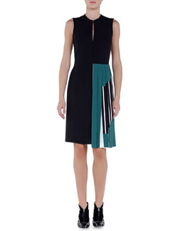 Sable Contrast Side-Pleated Dress, Black/Ivy/White